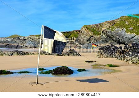 Beach Flags, Lusty Glaze Beach, Newquay, Cornwall