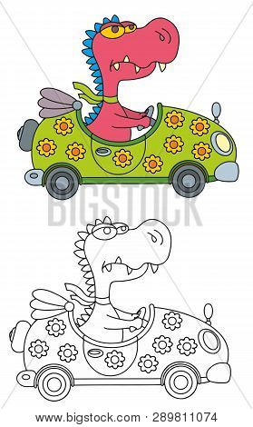 Coloring Pages For Childrens With Funny Animals,funny Dragon In The Car