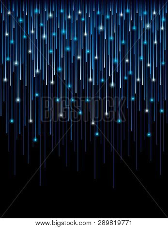 Background With Fiber Optic Connection Lines Technology. Abstract Blue Background With Optic Lines.