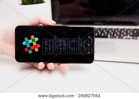 Tula, Russia - February 18, 2019: Slack Website Displayed On Phone