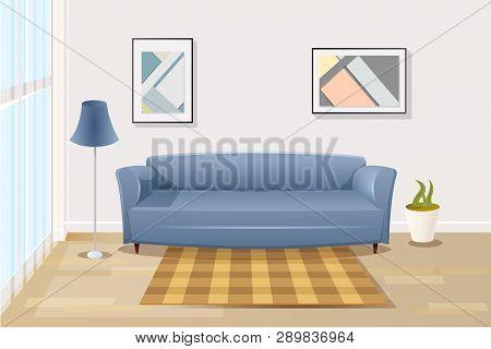 Modern Living Room Interior Cartoon Vector Illustration With Comfortable Blue Sofa Near Window In Sp