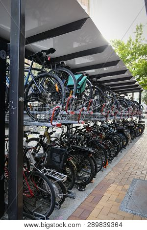 Double Storey Bike Rack In City. Efficient Storage And Environmentally Friendly. Wellington New Zeal