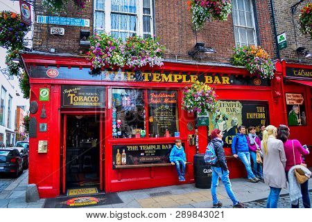 Dublin, Ireland, July 2016.  Front View Of Temple Bar, Famous Historical Pub In Dublin, Ireland.