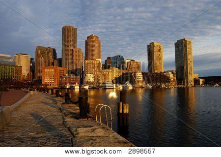 Boston Harbor Skyline At Dawn