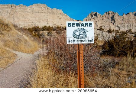 Beware of Rattlesnakes Sign