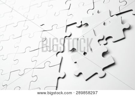 Close up of the pieces of a puzzle