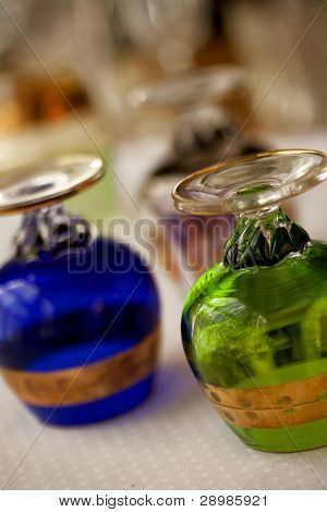Vintage hand-blown glass brandy snifters