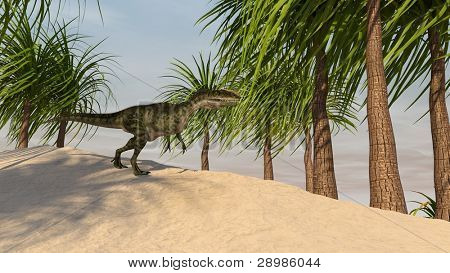 monolophosaurus in palm grove poster