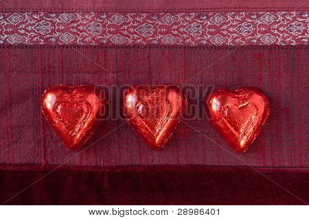 Three Red Candy Hearts