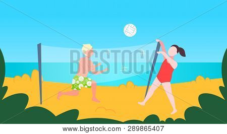 Man Woman Playing Volleyball Couple With Volley Ball Having Fun On Sea Beach Active Lifestyle Summer