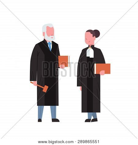 Judge Woman Man Couple Court Workers In Judicial Robe Holding Book And Hummer Low Justice Profession