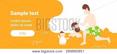 Children Burying Father In Sand Happy Family Having Fun On Beach Summer Vacation Concept Male Cartoo