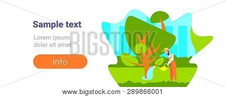 Bearded Gardener Watering Plants And Trees In Modern Garden Male Cartoon Character Full Length Flat
