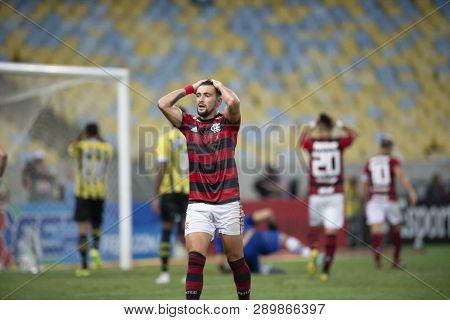 Rio, Brazil - March 16, 2019: De Arrascaeta Player In Match Between Flamengo And Volta Redonda By Th