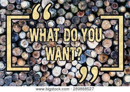 Word Writing Text What Do You Wantquestion. Business Concept For Aspiration Contemplation Need Conte