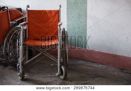 Supporting Wheelchairs For Elderly, Senior Citizen, Disabled In Corner Background, Used When Walking