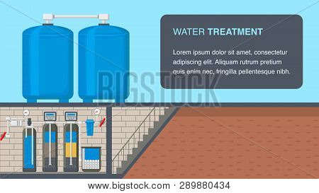 Water Treatment System Web Banner With Text Space. Water Purification Technology. Filter In Cut. Und