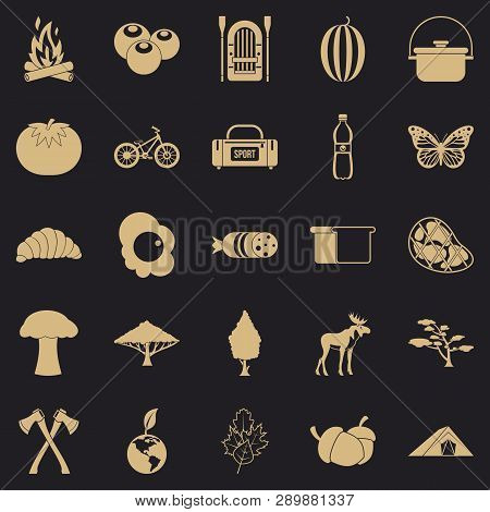 Hiking In The Wilderness Icons Set. Simple Set Of 25 Hiking In The Wilderness Vector Icons For Web F
