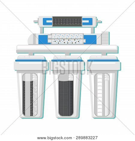 Water Filter In Cut Color Vector Illustration. Reverse Osmosis Filtration System. Drinkable Water Pu