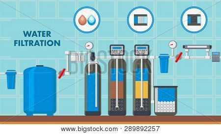 Water Filtration System Web Banner With Text Space. Filter In Cut Vector Poster. Liquid Purification