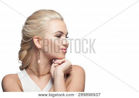 Happy Model Girl Isolated On White Background. Blonde Woman With Fashion Golden Chain Necklace And E