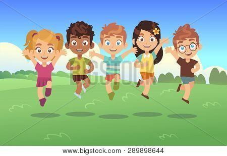 Happy Jumping Kids. Children Holiday Cartoon Panorama Childrens Summer Meadow Park Teenagers Jump Da