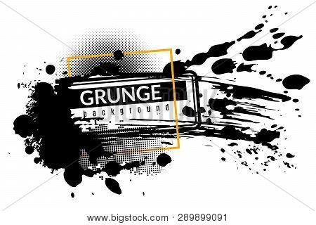Grunge Ink Background. Black Inked Splatter Dirt Stain Splattered Spray Splash With Drops Abstract T