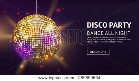 Disco Banner. Mirrorball Party Disco Ball Invitation Card Celebration Fashion Partying Poster Templa