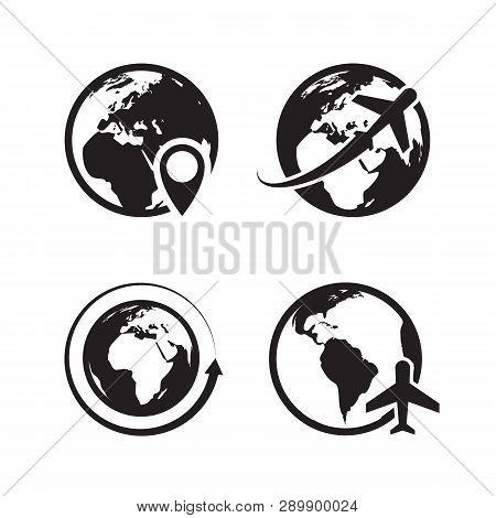 Globe Icons Set. World Earth And Globe Map Pin Icon Internet Global Commerce Vector Black Symbols