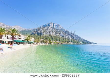 Gradac, Dalmatia, Croatia, Europe - Overview Across The Beautiful Beach Of Gradac