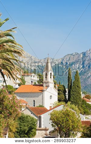 Brist, Dalmatia, Croatia, Europe - Steeple Of Brist In Front Of The Mountains