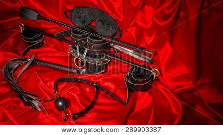 Bondage, Kinky Adult Sex Games, Kink And Bdsm Lifestyle Concept With A Pair Of Leather Handcuffs, Fl