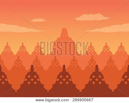 Buddha Temple Silhouette On Twilight, Suitable For Background.