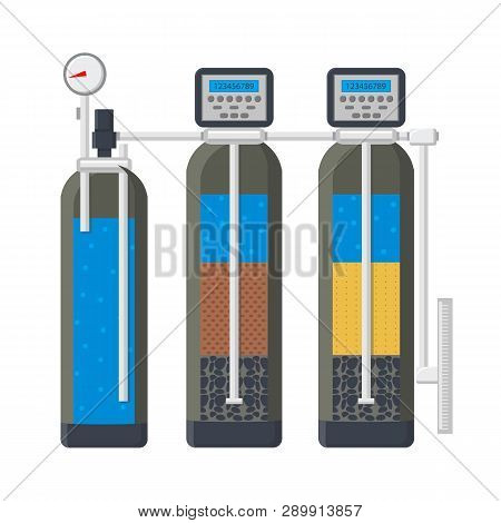 Water Filtration System Flat Vector Illustration. Filter In Cut Drawing. Liquid Purification Technol