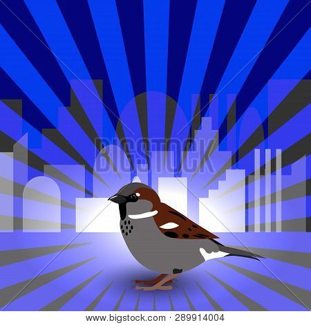 World Sparrow Day. Sparrow On The Background Of The Cityscape And Blue Rays. Concept Of Ecological E