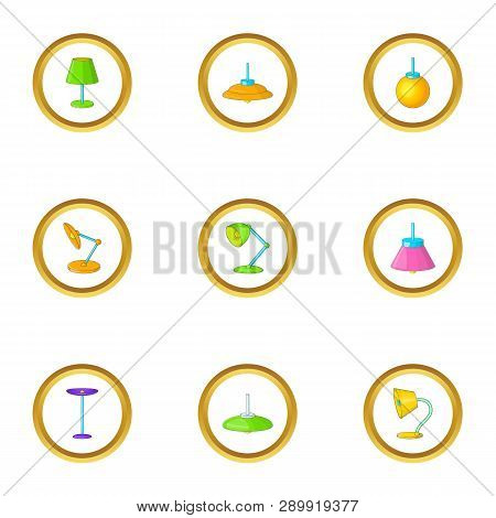 Lighting fixture icons set. Cartoon set of 9 lighting fixture icons for web isolated on white background poster