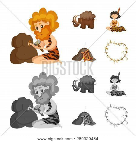 Vector illustration of evolution  and prehistory sign. Set of evolution  and development  stock symbol for web. poster