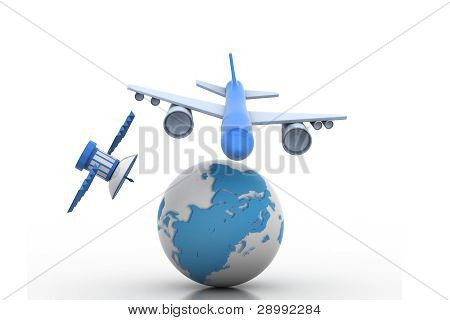 Airplane and globe