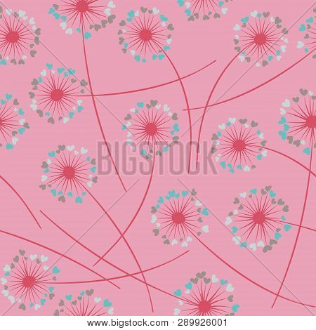 Cute dandelion blowing vector floral seamless pattern. Lovely flowers with heart shaped fluff flying. Vector dandelion herbs meadow flowers floral background. Meadow blossom with hearts fuzz. poster