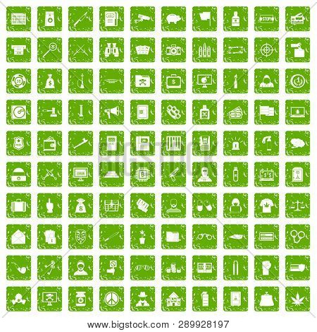 100 Criminal Offence Icons Set In Grunge Style Green Color Isolated On White Background Illustration