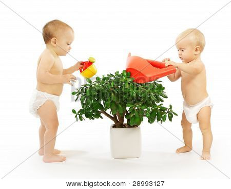 Two Kids Watering A Plant Together.
