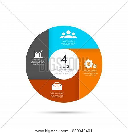 Vector Circle Template For Infographics. Business Concept With 4 Elements, Steps Or Options.