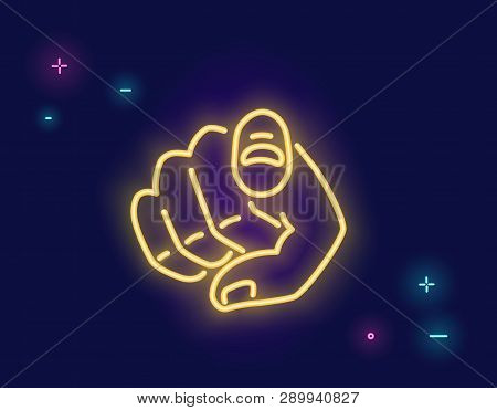 We Want You Human Hand With The Finger Pointing Or Gesturing Towards You In Neon Light Style Isolate
