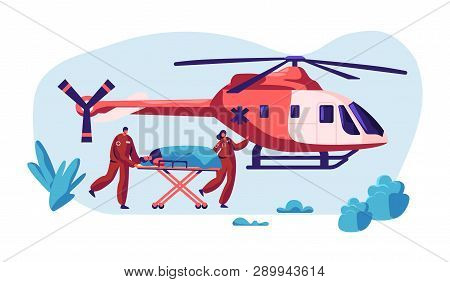 Professional Medicine Rescue. Paramedic Urgency Injured Character By Helicopter To Hospital For Heal