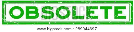 Grunge Green Obsolete Word Square Rubber Seal Stamp On White Background