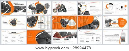 Presentation Template. Orange Elements For Slide Presentations On A White Background. Use Also As A