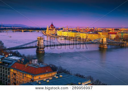 Famous European Touristic Travel Location. Amazing Cityscape Panorama With Spectacular Chain Bridge