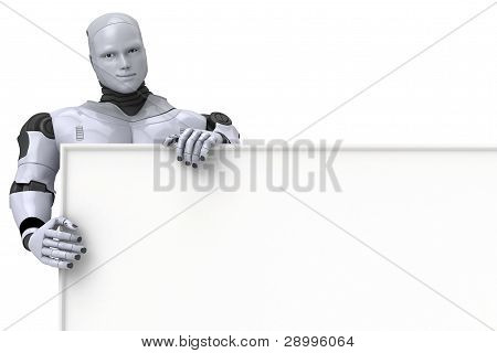 Android Robot Holding Blank Sign