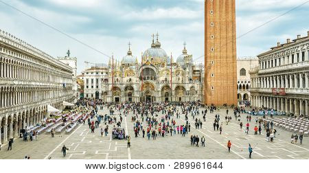 Venice, Italy - May 20, 2017: Piazza San Marco Or St Mark`s Square In Venice. It Is A Top Tourist At