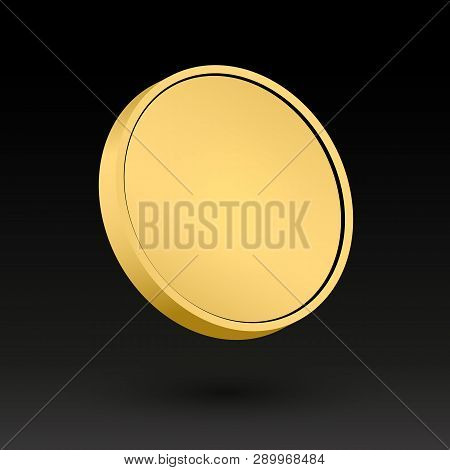 Gold Coin Template 3d Object. Vector Illustration. Golden Metal Medal. Metallic Clear Disc. Empty Ro